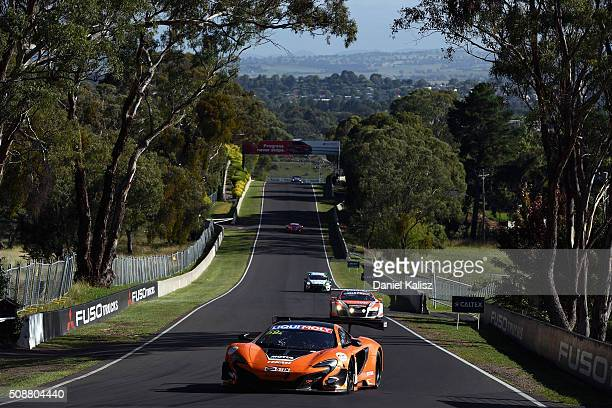 Shane van Gisbergen drives the Tekno Autosports Mclaren 650s during the Bathurst 12 Hour Race at Mount Panorama on February 7 2016 in Bathurst...