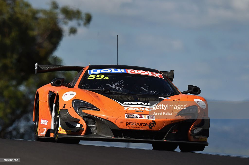 Shane van Gisbergen drives the #59 Tekno Autosports Mclaren 650s during the Bathurst 12 Hour Race at Mount Panorama on February 7, 2016 in Bathurst, Australia.