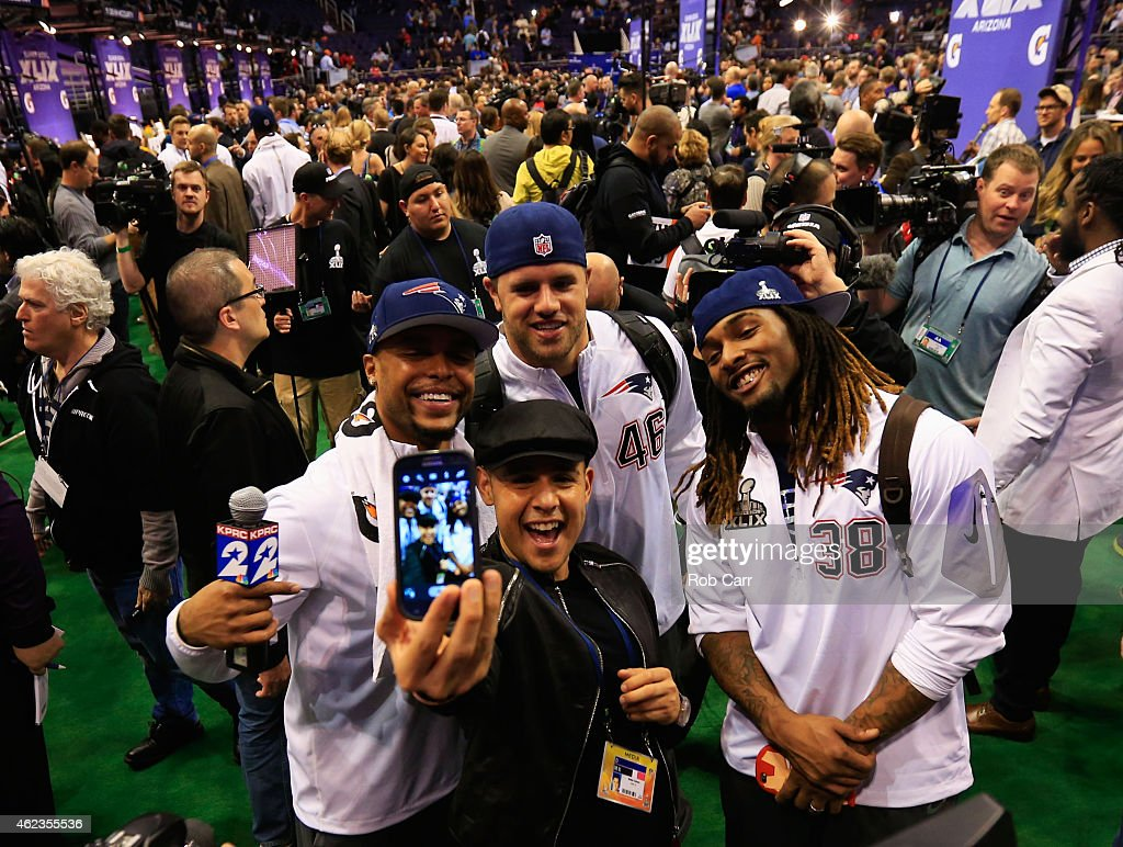 Shane Vereen James Develin and Brandon Bolden of the New England Patriots pose for a selfie at Super Bowl XLIX Media Day Fueled by Gatorade inside US...