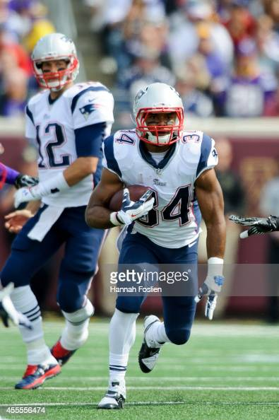 Shane Vereen of the New England Patriots carries the ball against the Minnesota Vikings during the game on September 14 2014 at TCF Bank Stadium in...