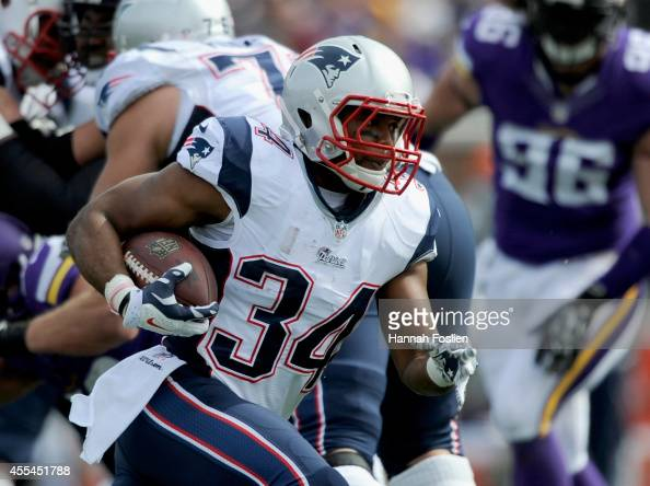 Shane Vereen of the New England Patriots carries the ball during the third quarter of the game against the Minnesota Vikings on September 14 2014 at...
