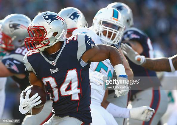 Shane Vereen of the New England Patriots carries the ball during the first quarter against the Miami Dolphins at Gillette Stadium on December 14 2014...