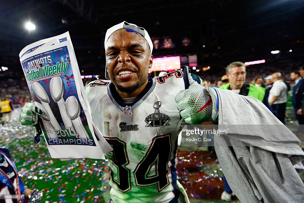 <a gi-track='captionPersonalityLinkClicked' href=/galleries/search?phrase=Shane+Vereen&family=editorial&specificpeople=5523170 ng-click='$event.stopPropagation()'>Shane Vereen</a> #34 of the New England Patriots celebrates after defeating the Seattle Seahawks during Super Bowl XLIX at University of Phoenix Stadium on February 1, 2015 in Glendale, Arizona. The Patriots defeated the Seahawks 28-24.