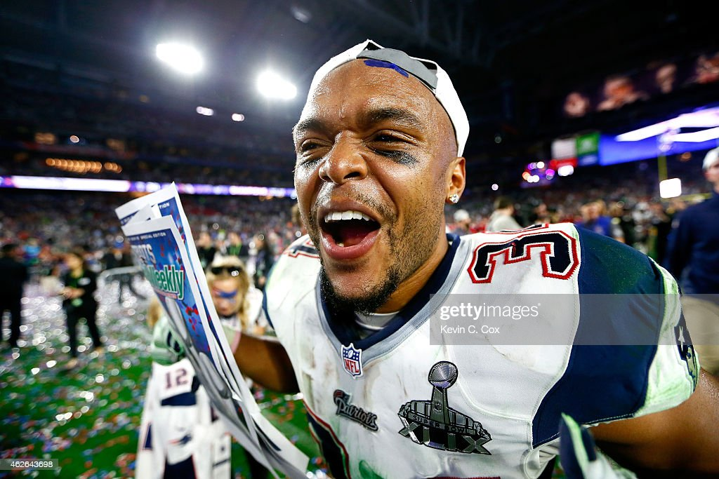 Shane Vereen of the New England Patriots celebrates after defeating the Seattle Seahawks during Super Bowl XLIX at University of Phoenix Stadium on...