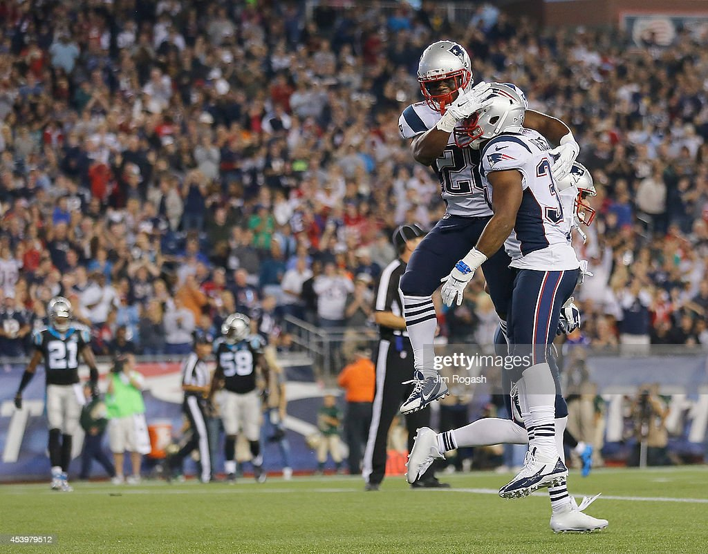 <a gi-track='captionPersonalityLinkClicked' href=/galleries/search?phrase=Shane+Vereen&family=editorial&specificpeople=5523170 ng-click='$event.stopPropagation()'>Shane Vereen</a> #34 of the New England Patriots celebrates his touchdown with James White #28 during a preseason game with the Carolina Panthers in the second quarter at Gillette Stadium on August 22, 2014 in Foxboro, Massachusetts.