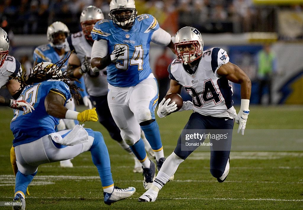Shane Vereen of the New England Patriots runs against the San Diego Chargers during their NFL Game at Qualcomm Stadium on December 7 2014 in San...