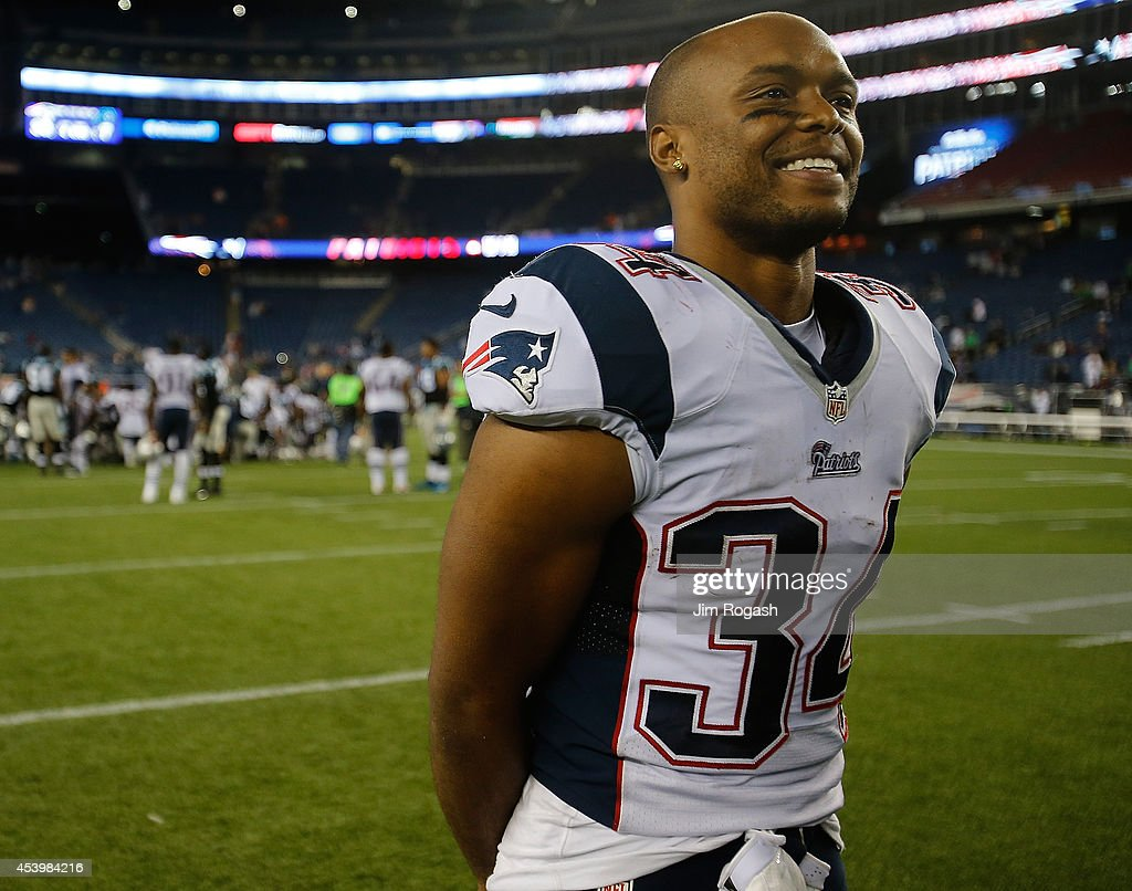 Shane Vereen of the New England Patriots smiles after defeating the Carolina Panthers in a preseason game at Gillette Stadium on August 22 2014 in...