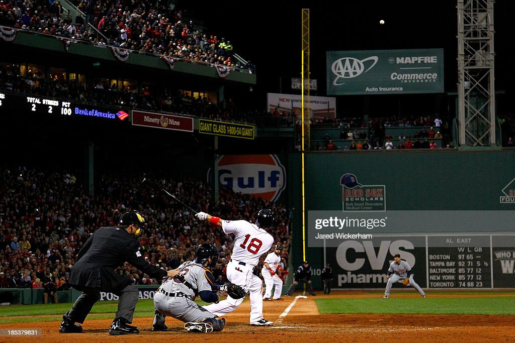 <a gi-track='captionPersonalityLinkClicked' href=/galleries/search?phrase=Shane+Victorino&family=editorial&specificpeople=576251 ng-click='$event.stopPropagation()'>Shane Victorino</a> #18 of the Boston Red Sox hits a grand slam home run against Jose Veras #31 of the Detroit Tigers in the seventh inning during Game Six of the American League Championship Series at Fenway Park on October 19, 2013 in Boston, Massachusetts.