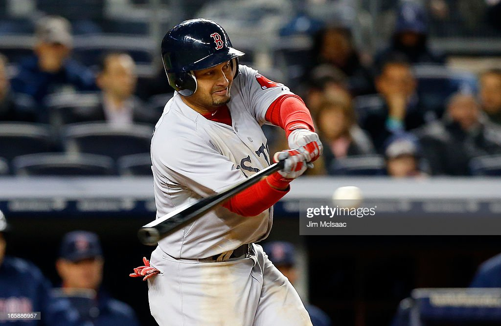 Shane Victorino #18 of the Boston Red Sox in action against the New York Yankees at Yankee Stadium on April 4, 2013 in the Bronx borough of New York City. The Yankees defeated the Red Sox 4-2.
