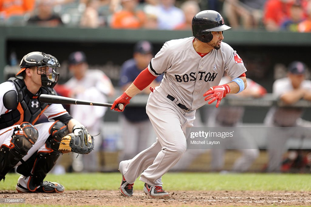 <a gi-track='captionPersonalityLinkClicked' href=/galleries/search?phrase=Shane+Victorino&family=editorial&specificpeople=576251 ng-click='$event.stopPropagation()'>Shane Victorino</a> #18 of the Boston Red Sox takes a swing during a baseball game against the Baltimore Orioles on June 16, 2013 at Oriole Park at Camden Yards in Baltimore, Maryland. The Orioles won 6=2.