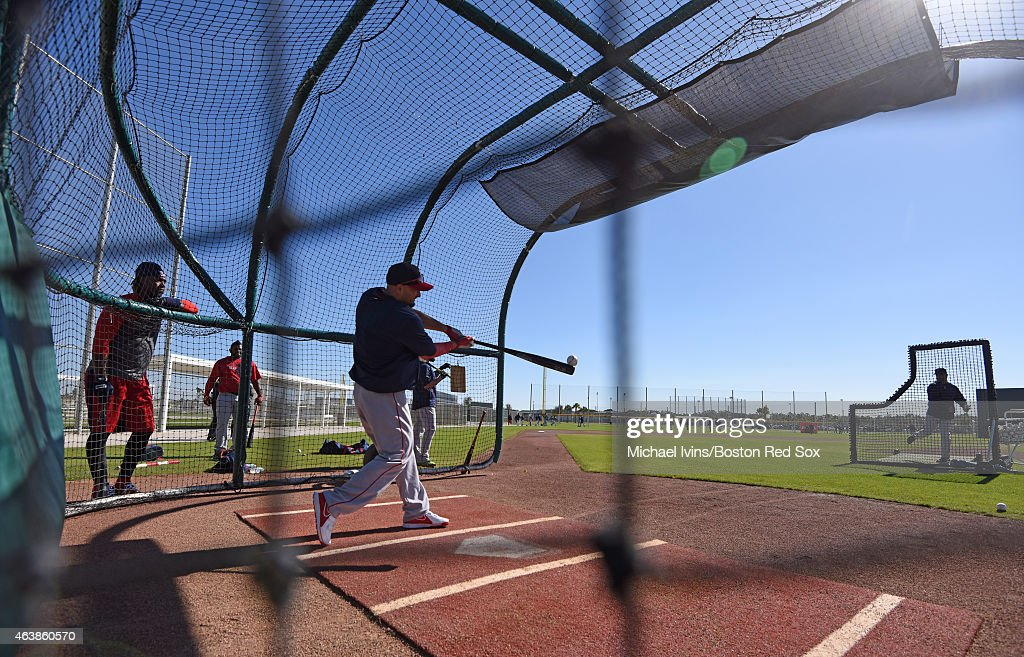 Shane Victorino of the Boston Red Sox takes batting practice at Fenway South in Fort Myers, Florida on February 19, 2015.