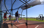 Shane Victorino of the Boston Red Sox takes batting practice at Fenway South in Fort Myers Florida on February 19 2015