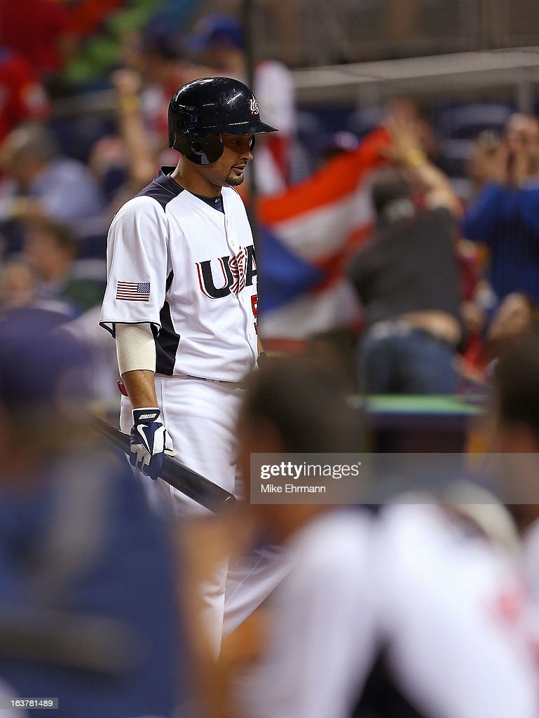Shane Victorino #50 of the United States reacts after striking out during a World Baseball Classic second round game against Puerto Rico at Marlins Park on March 15, 2013 in Miami, Florida.