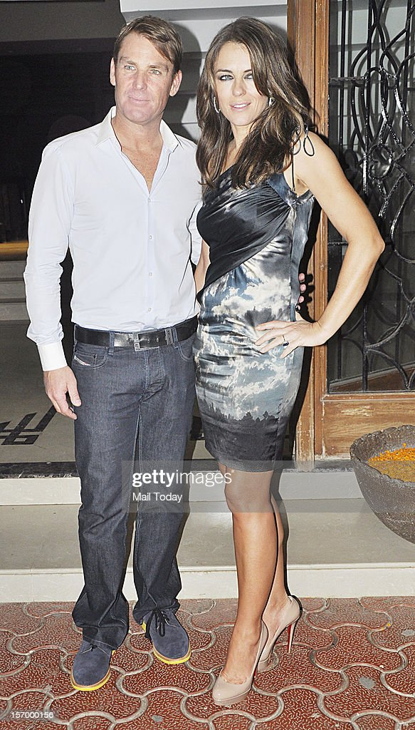 Shane Warne and Elizabeth Hurley at Raj Kundra and Shilpa Shetty's dinner for them at their Juhu residence in Mumbai.