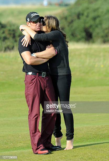 Shane Warne and Elizabeth Hurley attend day two of the Alfred Dunhill Links Championship on September 30 2011 in St Andrews Scotland