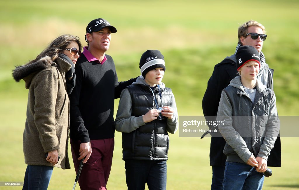 <a gi-track='captionPersonalityLinkClicked' href=/galleries/search?phrase=Shane+Warne&family=editorial&specificpeople=167242 ng-click='$event.stopPropagation()'>Shane Warne</a> and <a gi-track='captionPersonalityLinkClicked' href=/galleries/search?phrase=Elizabeth+Hurley&family=editorial&specificpeople=201731 ng-click='$event.stopPropagation()'>Elizabeth Hurley</a> look on during the second round of the Alfred Dunhill Links Championship on The Championship Links at Carnoustie on October 5, 2012 in Carnoustie, Scotland.