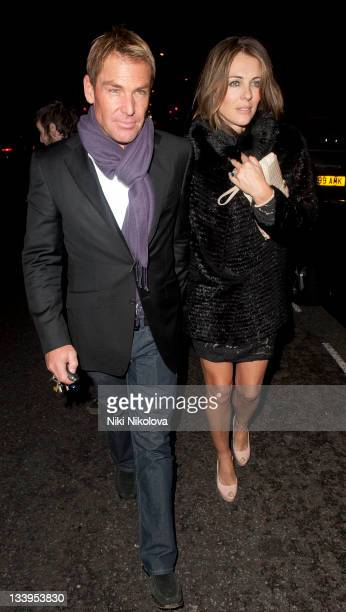 Shane Warne and Elizabeth Hurley sighting on November 22 2011 in London England