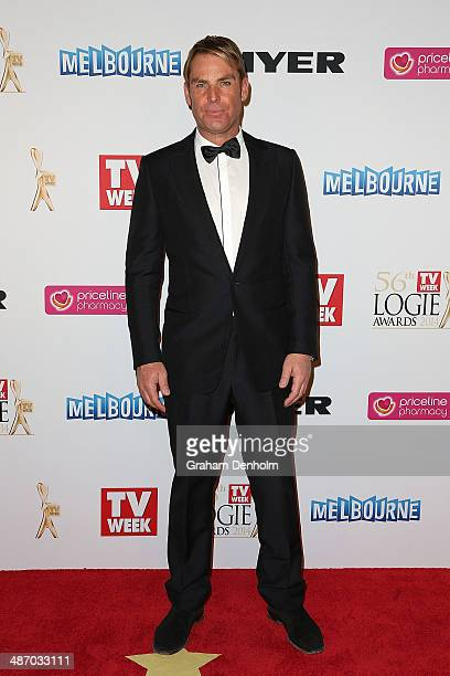 Shane Warne arrives at the 2014 Logie Awards at Crown Palladium on April 27 2014 in Melbourne Australia