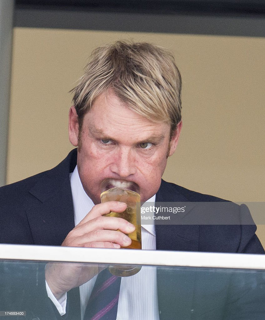 <a gi-track='captionPersonalityLinkClicked' href=/galleries/search?phrase=Shane+Warne&family=editorial&specificpeople=167242 ng-click='$event.stopPropagation()'>Shane Warne</a> attends the Betfair weekend featuring The King George VI and Queen Elizabeth Stakes at Ascot Racecourse on July 27, 2013 in Ascot, England.