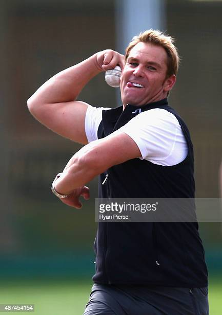 Shane Warne bowls to Michael Clarke of Australia during an Australian nets session at Sydney Cricket Ground on March 25 2015 in Sydney Australia
