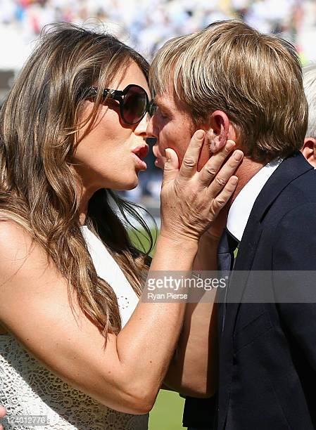 Shane Warne is congratulated by his fiance Elizabeth Hurley after he was inducted into the ICC Cricket Hall of Fame during day two of the 2nd...