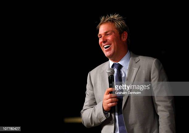 Shane Warne laughs during the Shane Warne Foundation Boxing Day Breakfast at the Crown Entertainment Complex on December 26 2010 in Melbourne...