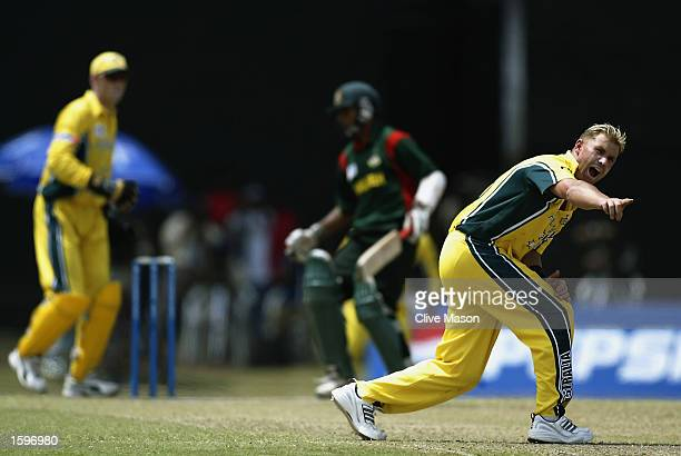 Shane Warne of Australia appeals for the wicket of Tushar Imran of Bangladesh during the ICC Champions Trophy match between Australia and Bangladesh...