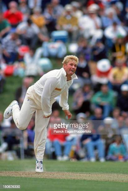Shane Warne of Australia bowling during the Australia v Duchess of Norfolk's XI at Arundel Castle May 21993 in ArundelEngland