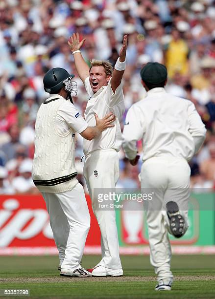 Shane Warne of Australia celebrates his 600th test wicket that of Marcus Trescothick of England during day one of the Third npower Ashes Test match...