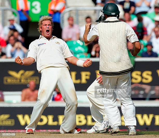 Shane Warne of Australia celebrates the wicket of Andrew Flintoff of England during day five of the Fifth npower Ashes Test between England and...