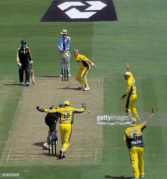 Shane Warne of Australia celebrates the wicket of InzamamulHaq of Pakistan out lbw for 23 during the NatWest Series Final at Lord's London 23rd June...