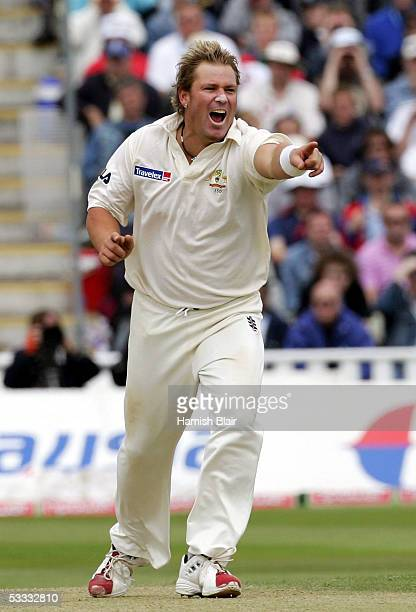 Shane Warne of Australia celebrates the wicket of Stephen Harmison of England during day three of the Second npower Ashes Test between England and...
