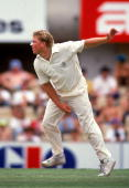 Shane Warne of Australia in action during his test debut during the 3rd test match between Australia and India played at the Sydney Cricket Ground...