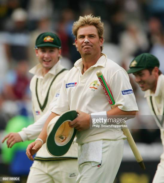 KINGDOM JULY 24 Shane Warne of Australia leaves the field after Australia had won the 1st Ashes Test match between England and Australia at Lord's...