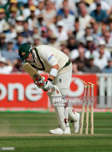 Shane Warne of Australia steps back onto his stumps during day four of the Second npower Ashes Test match between England and Australia at Edgbaston...