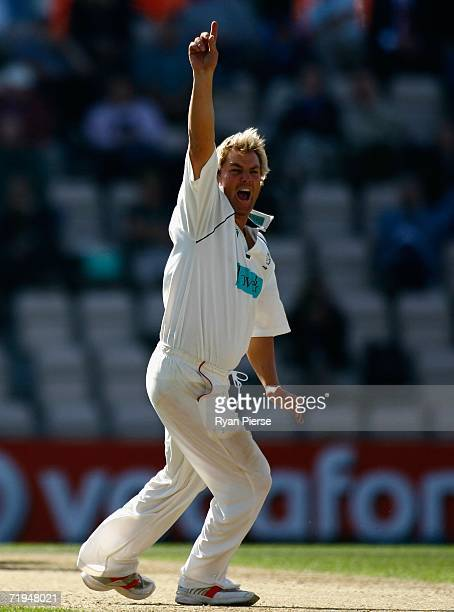 Shane Warne of Hampshire appeals for a wicket during day one of the Liverpool Victoria Insurance County Championship match between Hampshire and...