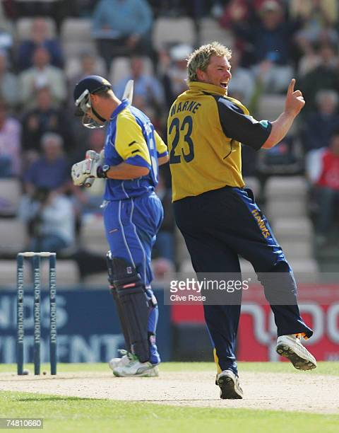 Shane Warne of Hampshire celebrates the wicket of Heath Streak of Warwickshire during the Friends Provident Trophy semifinal match between Hampshire...