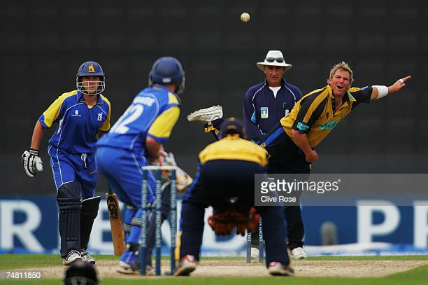 Shane Warne of Hampshire in action during the Friends Provident Trophy semifinal match between Hampshire and Warwickshire at The Rose Bowl on June 20...