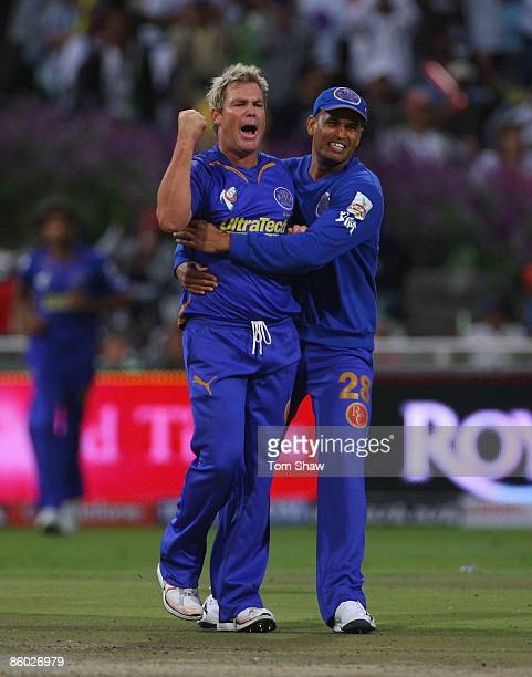 Shane Warne of Rajasthan celebrates taking the wicket of Balachandra Akhil of Bangalore during the IPL T20 match between Rajasthan Royals and Royal...
