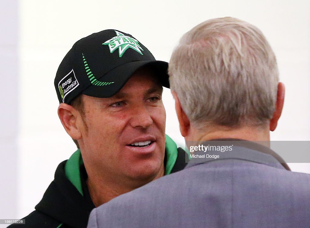 <a gi-track='captionPersonalityLinkClicked' href=/galleries/search?phrase=Shane+Warne&family=editorial&specificpeople=167242 ng-click='$event.stopPropagation()'>Shane Warne</a> of the Melbourne Stars celebrates their win in the club rooms after the Big Bash League match between the Melbourne Stars and the Sydney Thunder at Melbourne Cricket Ground on January 8, 2013 in Melbourne, Australia.