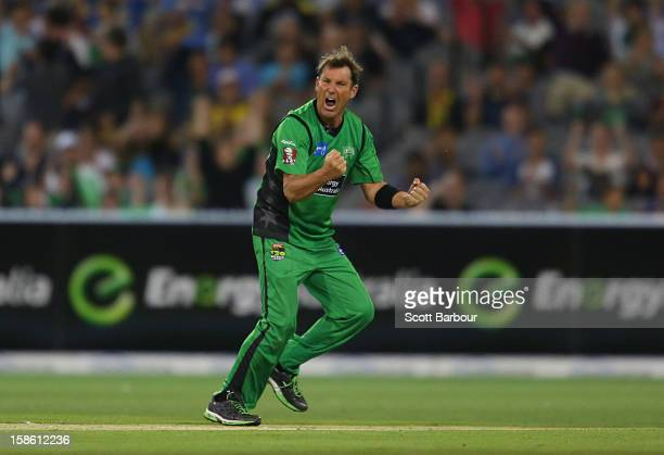 Shane Warne of the Stars celebrates after dismissing Moises Henriques of the Sixers during the Big Bash League match between the Melbourne Stars and...