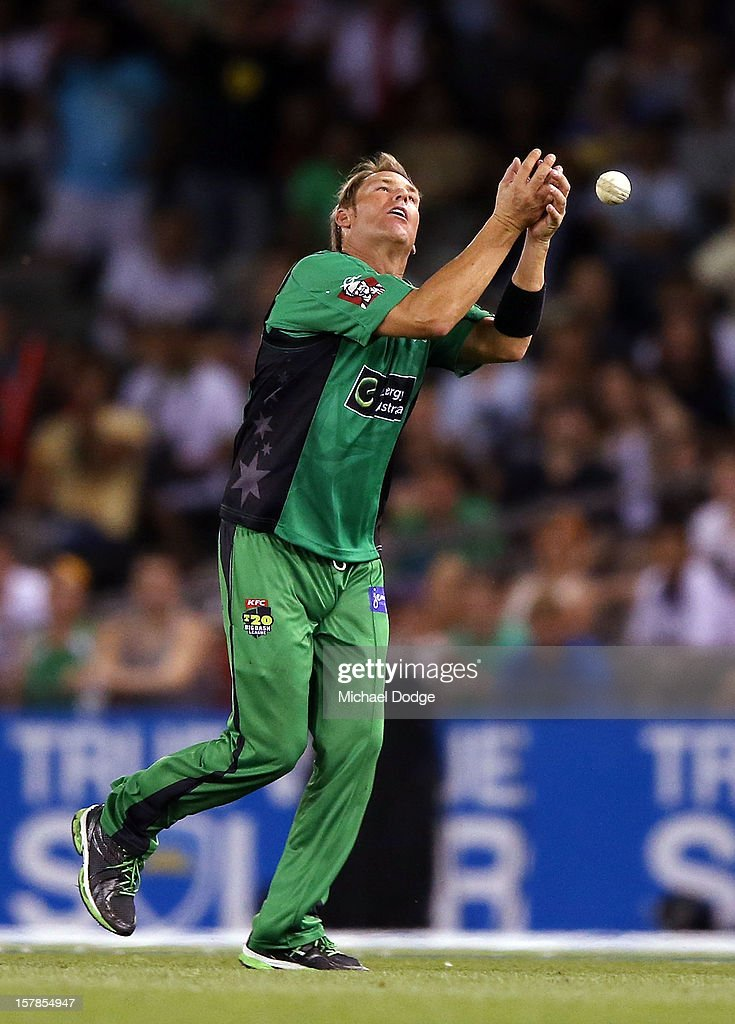 <a gi-track='captionPersonalityLinkClicked' href=/galleries/search?phrase=Shane+Warne&family=editorial&specificpeople=167242 ng-click='$event.stopPropagation()'>Shane Warne</a> of The Stars drops a catch hit by Faf Du Plessis of The Renegades during the Big Bash League match between the Melbourne Renegades and the Melbourne Stars at Etihad Stadium on December 7, 2012 in Melbourne, Australia.