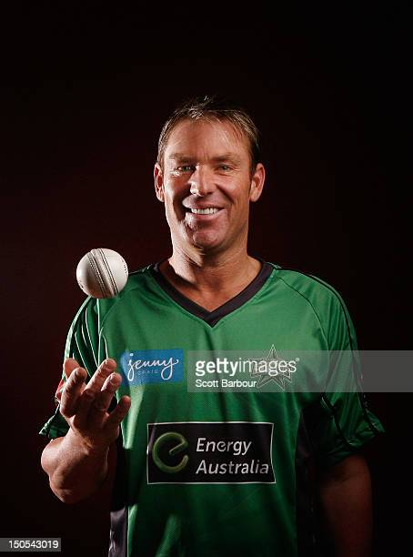 Shane Warne of the Stars poses after being unveiled as the team captain during a Melbourne Stars team announcement at Monash University on August 21...