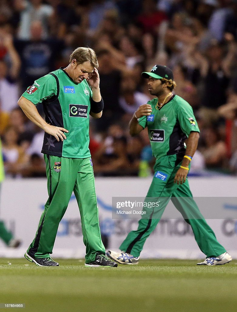 <a gi-track='captionPersonalityLinkClicked' href=/galleries/search?phrase=Shane+Warne&family=editorial&specificpeople=167242 ng-click='$event.stopPropagation()'>Shane Warne</a> of The Stars reacts after dropping a catch hit by Faf Du Plessis of The Renegades during the Big Bash League match between the Melbourne Renegades and the Melbourne Stars at Etihad Stadium on December 7, 2012 in Melbourne, Australia.