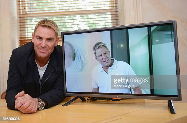 Shane Warne poses during a media opportunity at Advanced Hair Studio on March 18 2016 in Melbourne Australia Shane Warne was promoting the new TV...