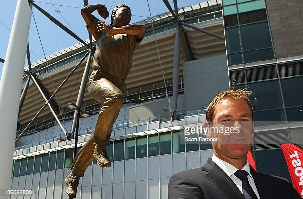 Shane Warne poses during the unveiling of the Shane Warne statue at the Melbourne Cricket Ground on December 22 2011 in Melbourne Australia