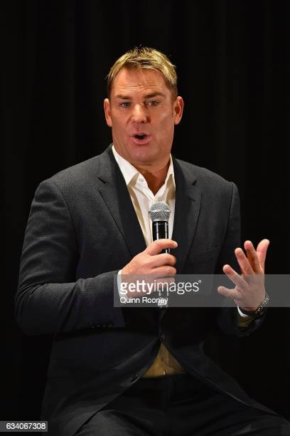 Shane Warne speaks to the media at Hamer Hall announcing a national speaking tour titled Warney Uncut on February 7 2017 in Melbourne Australia