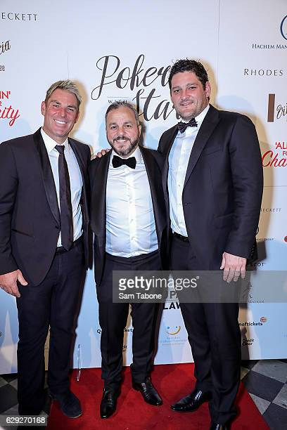 Shane Warne Tony Hachem and Brendan Fevola arrive ahead of Poker With the Stars on December 12 2016 in Melbourne Australia