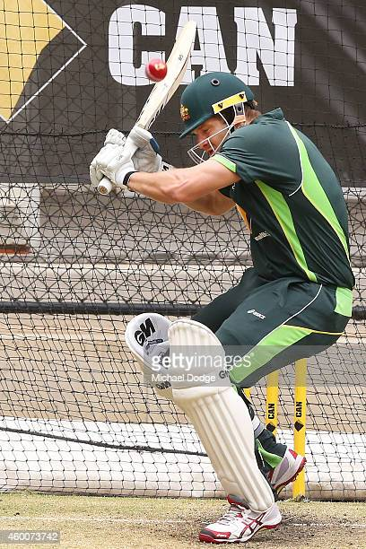 Shane Watson almost gets hit by a bouncer during an Australian nets session at Adelaide Oval on December 7 2014 in Adelaide Australia
