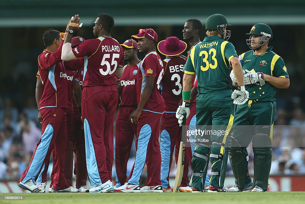 Shane Watson and Aaron Finch of Australia discuss Finch's dismissal before he referred it to the DRS during game four of the Commonwealth Bank One Day International Series between Australia and the West Indies at Sydney Cricket Ground on February 8, 2013 in Sydney, Australia.